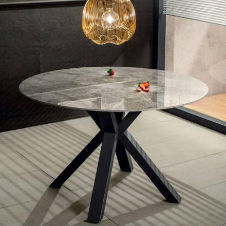 Mesa de Jantar Moderna Redonda em Cerâmica Mármore Efeito e Metal - Jarvis