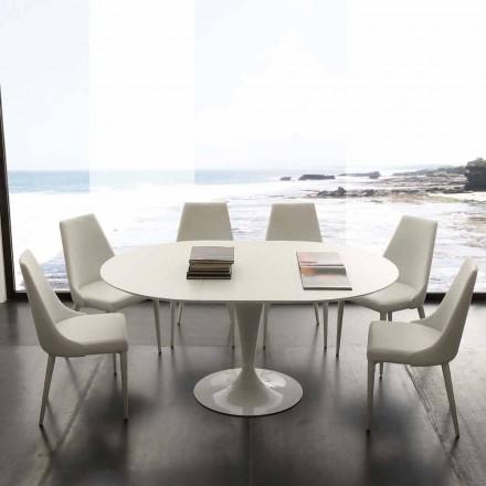 Mesa de jantar redonda extensível até 170 cm Topeka, design moderno