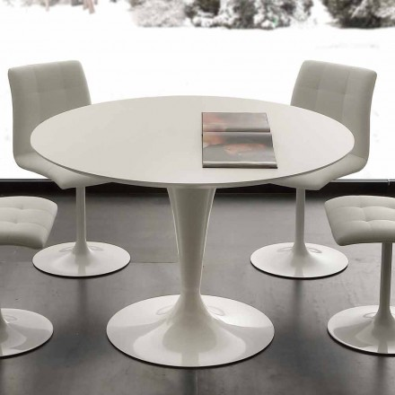 Mesa redonda moderna com tampo lacado a branco ou Topeka laminado