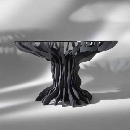 Moderna mesa de jantar redonda Cassia com base de madeira preta e tampo de cristal