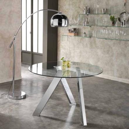 Mesa de vidro redonda Adamo, design moderno