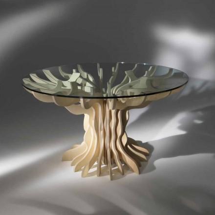Mesa de jantar redonda de madeira com tampo de cristal temperado Cassia