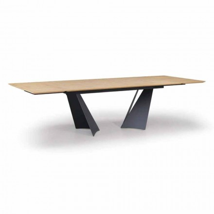Mesa Extensível Design Até 294 cm em Madeira e Metal Made in Italy - Nuzzo