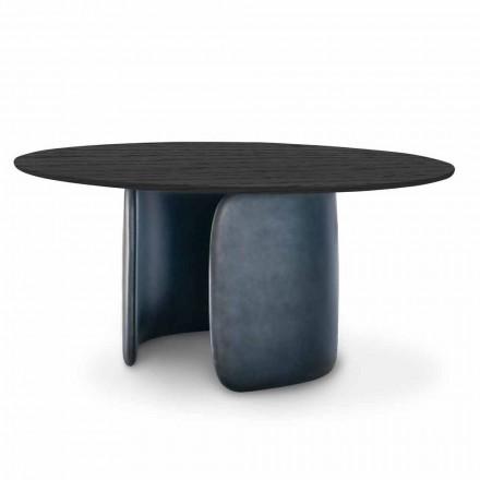Mesa Design com Tampo Redondo em Madeira Maciça Made in Italy - Mellow Bonaldo