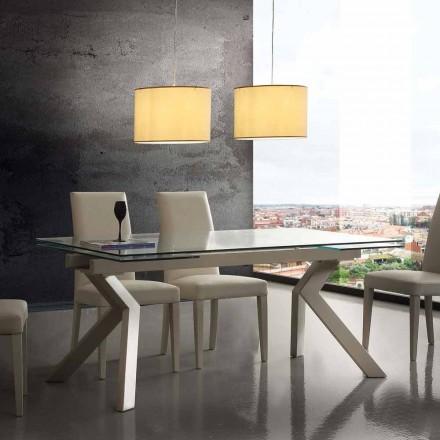 Moderna mesa extensível Mesa, feita de metal e vidro temperado