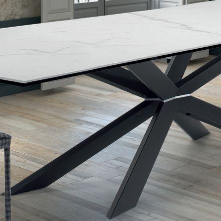 Mesa de cozinha de design em mármore e aço preto fabricada na Itália - Grotta