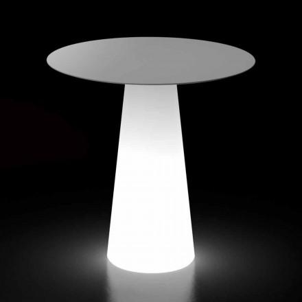 Mesa de luz externa com base para luz de LED e tampo redondo Made in Italy - Forlina
