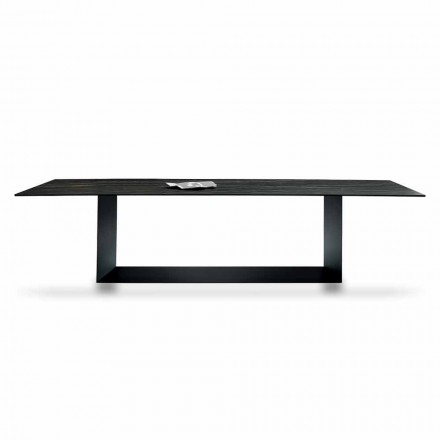 Mesa de Design em Matt Noir Desir Cerâmica e Metal Made in Italy - Marrom Escuro