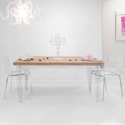 Mesa de design em madeira de abeto e plexiglass, produzida na Itália, Castro