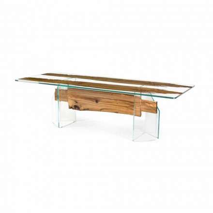 Mesa rectangular Venezia, em madeira briccola de Veneza e vidro