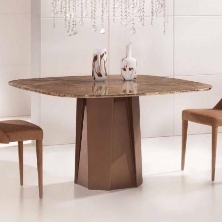 Mesa de design em mármore escuro Emperador 130x130 cm, fabricada na Itália - Nuvolento