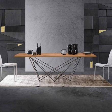 Mesa de design moderno com tampo de madeira e base de metal, Esperia
