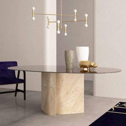 Mesa elíptica em mármore cristal e bege coral fabricada na Itália - Noccia