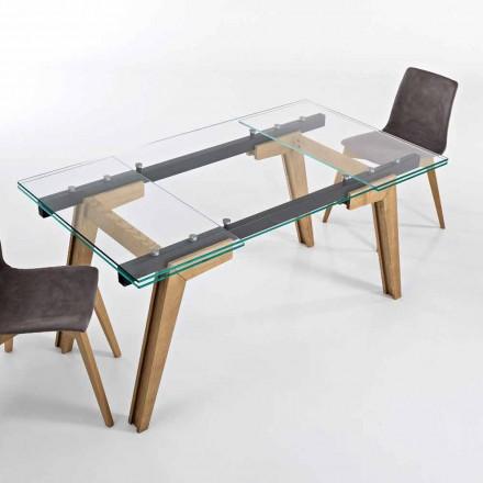 Mesa extensível em vidro e madeira maciça fabricada na Itália, Dimitri