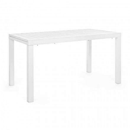 Mesa de jardim extensível até 240 cm em alumínio branco ou com gola alta - Franz