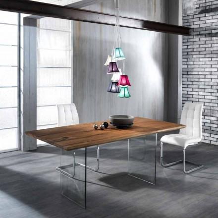 Mesa de jantar design moderno Tito feito de vidro temperado e madeira maciça