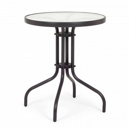 Mesa de jardim redonda em aço com tampo de vidro design - Purizia