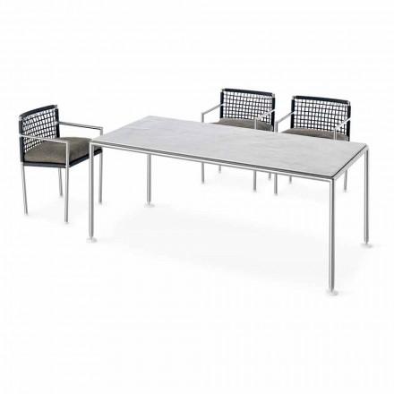 Mesa de aço e quartzo para ambiente externo de design moderno fabricada na Itália - Ontario7