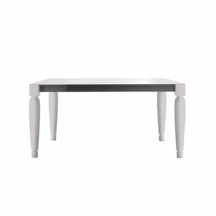 Mesa 6 Seater Design Cerâmica e Pernas de Madeira Branca - Claudiano