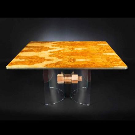 Mesa quadrada Portofino, feita de madeira de oliveira e vidro