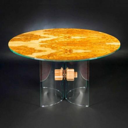Mesa redonda Portofino, feita de madeira de oliveira e vidro