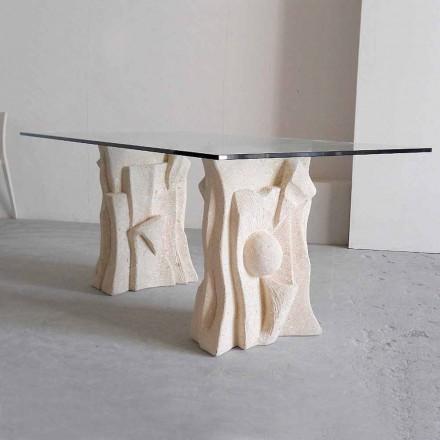 Mesa de jantar design clássico Priamo, pedra natural Vicenza e cristal