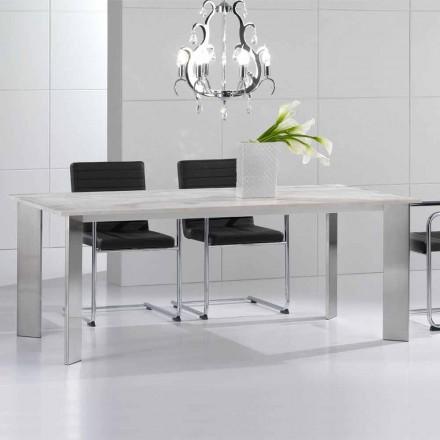 Mesa de jantar feita em travertino de pedra, design moderno, Pompilio