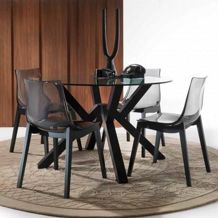 Mesa de jantar redonda Burgos, com tampo de vidro e pernas cinzentas