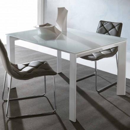 Mesa extensível de jantar Phoenix, feita de vidro temperado