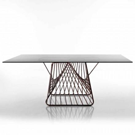 Mesa de design moderno em vidro temperado fabricado na Itália, Mitia