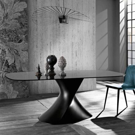 Mesa de design moderno em vidro temperado fabricado na Itália, Clark