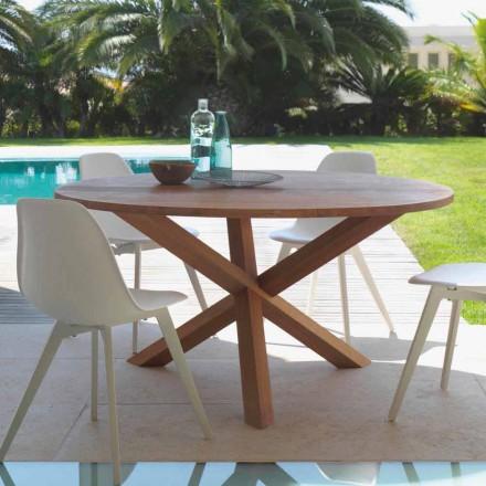 Mesa redonda de jantar ao ar livre de madeira de mogno Bridge by Talenti