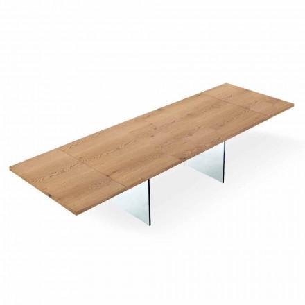Mesa extensível moderna até 300 cm em laminado e vidro fabricado na Itália - Strappo