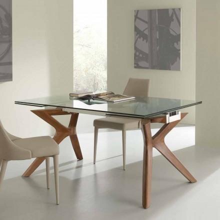 Mesa de jantar extensível Kentucky, vidro temperado e aço inoxidável