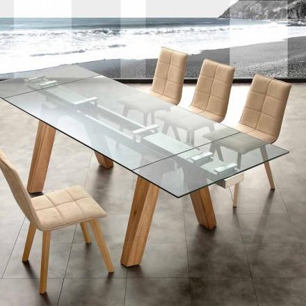 Mesa de jantar extensível Florida, feita de vidro e madeira maciça