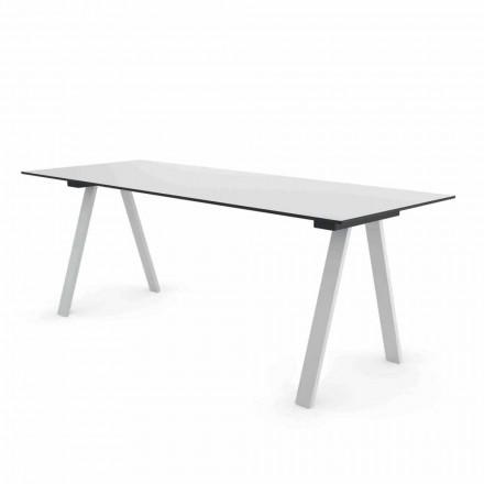 Mesa moderna de design ao ar livre em metal e HPL fabricada na Itália - Denzil