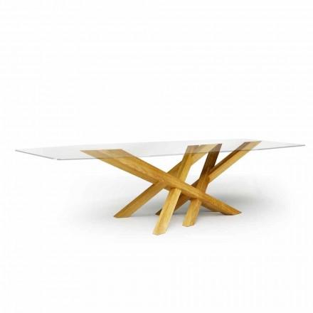 Moderna mesa em vidro e carvalho natural produzido na Itália Acciano