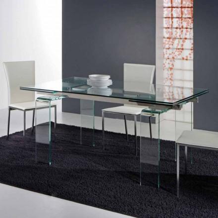 Mesa extensível de jantar Atlanta, inteiramente feita de vidro temperado