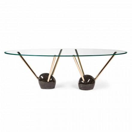 Mesa de jantar oval Zoe com tampo de vidro, feita na Itália, design moderno