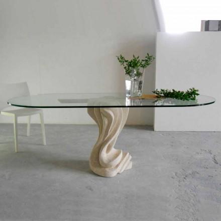 Mesa de jantar design feita de cristal e pedra natural Vicenza Agave