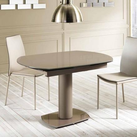 Mesa de jantar extensível em vidro e imitação de couro, L120 / 180xP90cm, Lelia