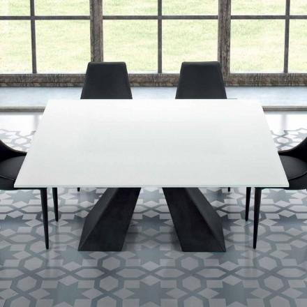 Mesa quadrada em aço e vidro temperado extra-branco fabricado na Itália - Dalmata