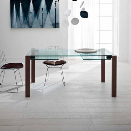 Mesa extensível até 280 cm em vidro transparente Made in Italy - Sopot