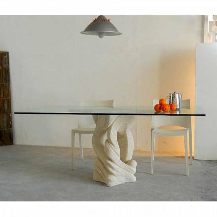Mesa de jantar com base de pedra natural Vicenza Ascanio, fabricada na Itália