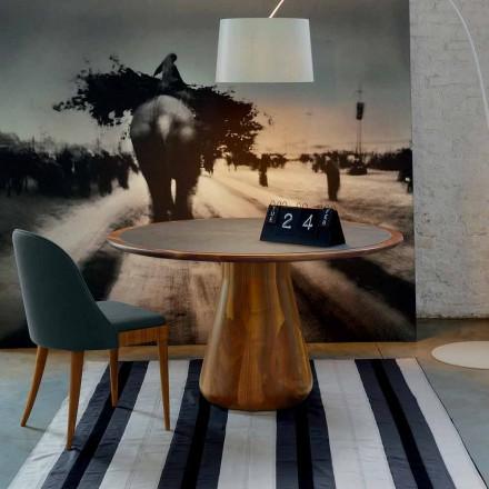 Moderna mesa redonda Carlo, noz sólida e top de couro, feito na Itália