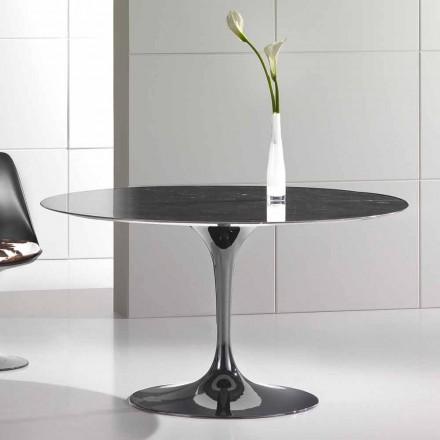 Mesa de jantar redonda em mármore Marquinia de alta qualidade fabricada na Itália - Nerone