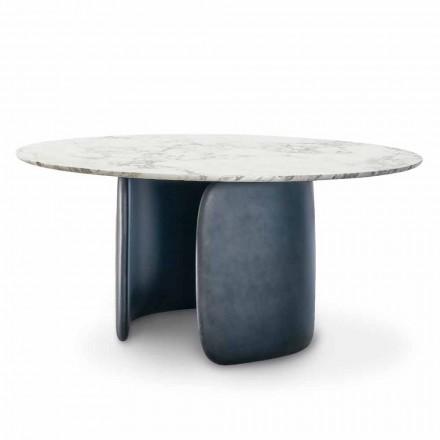 Mesa Redonda Design com Tampo em Mármore Polido Made in Italy - Mellow Bonaldo
