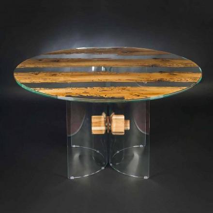 Mesa redonda Venezia, feita de madeira de briccola de Veneza e vidro