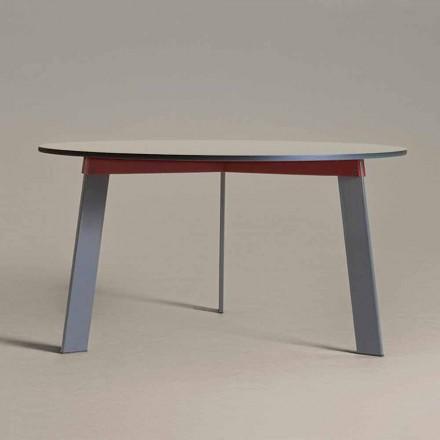Mesa Redonda de Design Moderno em Aço e MDF Lacado Colorido - Aronte