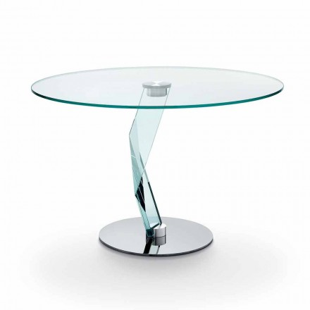 Mesa redonda de design moderno em vidro extra claro fabricado na Itália - Akka